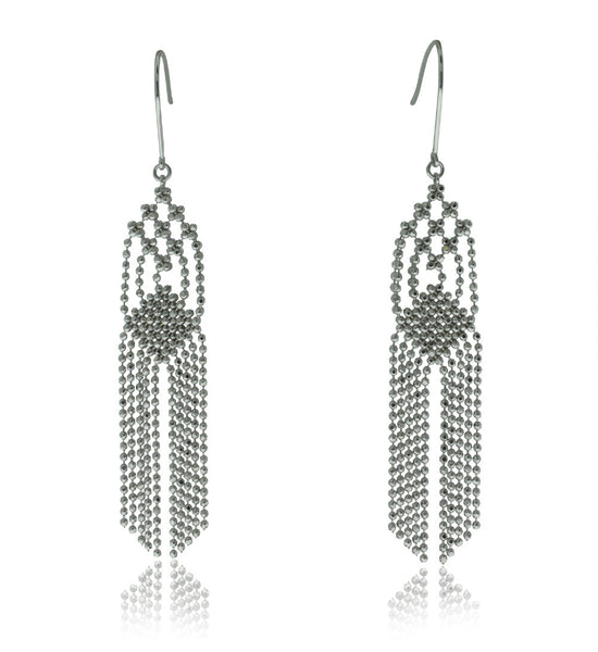 18ct White Gold Tassel Drop Earrings - Walker & Hall