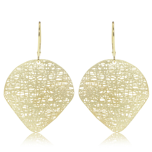 14ct Yellow Gold Textured Disc Hook Earrings - Walker & Hall