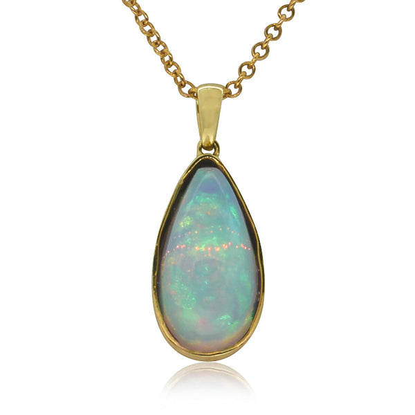 9ct Yellow Gold Opal Pendant - Walker & Hall