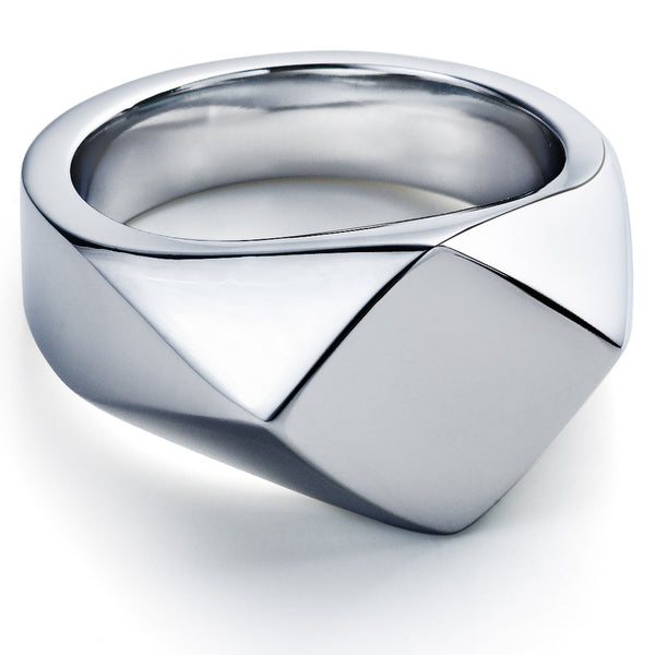James Sterling Silver Square Ring - Walker & Hall
