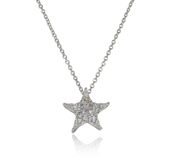 18ct White Gold .64ct Diamond Star Pendant - Walker & Hall