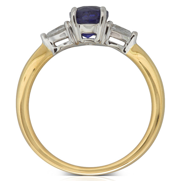 18ct Yellow Gold Sapphire And Diamond Trilogy Ring - Walker & Hall