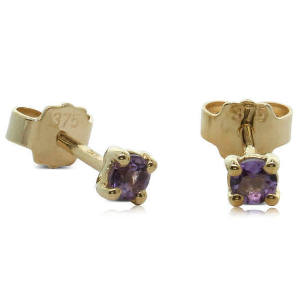 9ct Yellow Gold Small Amethyst Studs