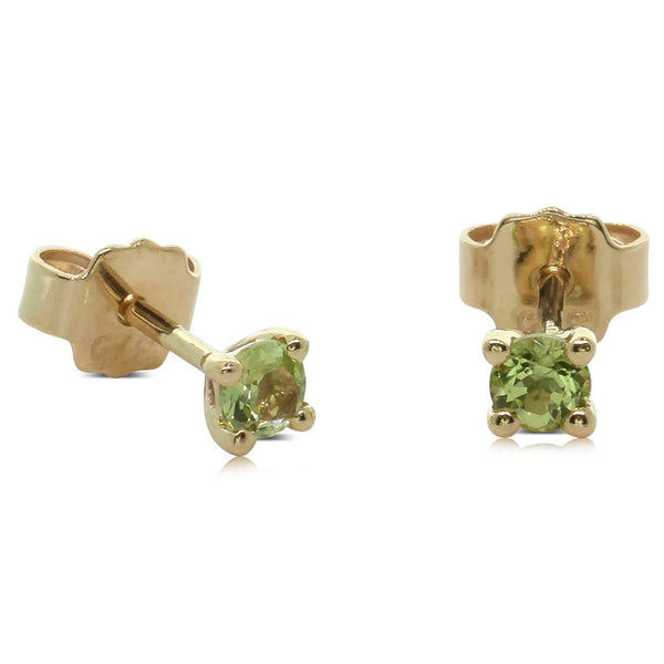 9ct Yellow Gold Small Peridot Studs