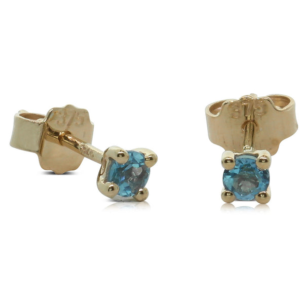 9ct Yellow Gold Small Blue Topaz Studs - Walker & Hall