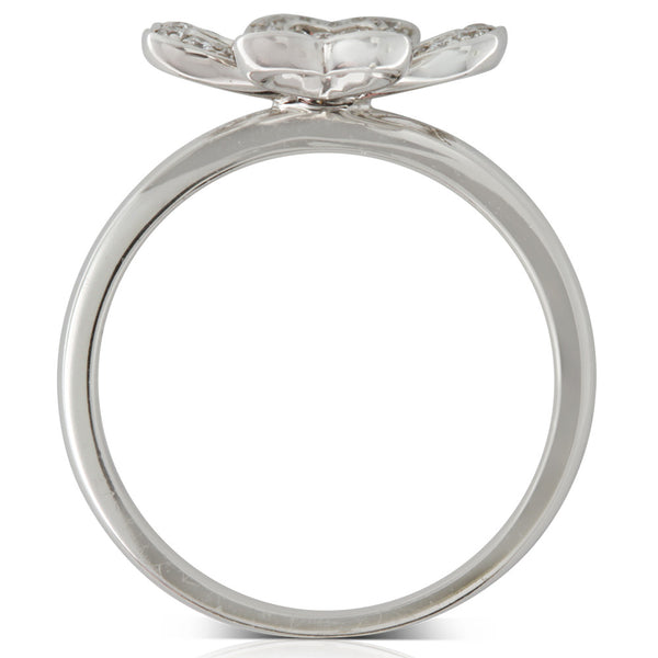 18ct White Gold .24ct Diamond Clover Ring - Walker & Hall