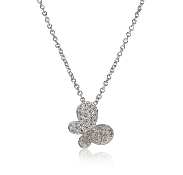 18ct White Gold .31ct Diamond Butterfly Pendant - Walker & Hall