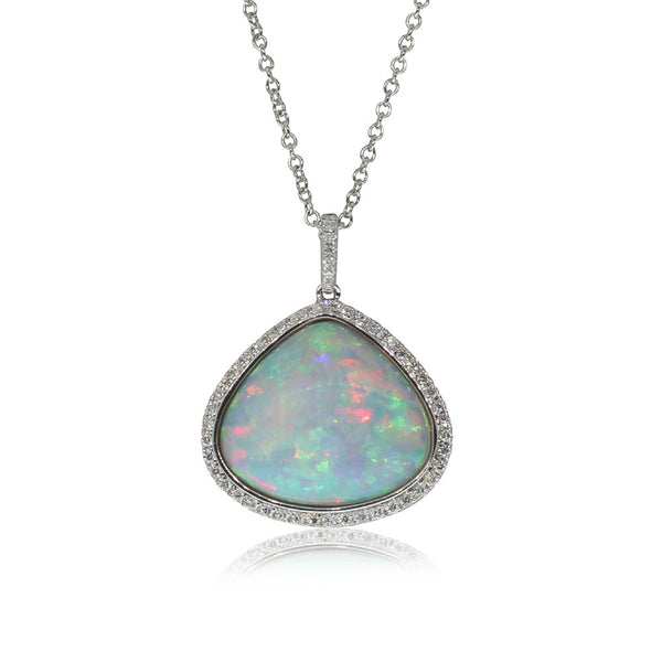 18ct White Gold Opal & Diamond Pendant - Walker & Hall