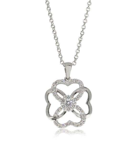 18ct White Gold .34ct Diamond Pendant - Walker & Hall