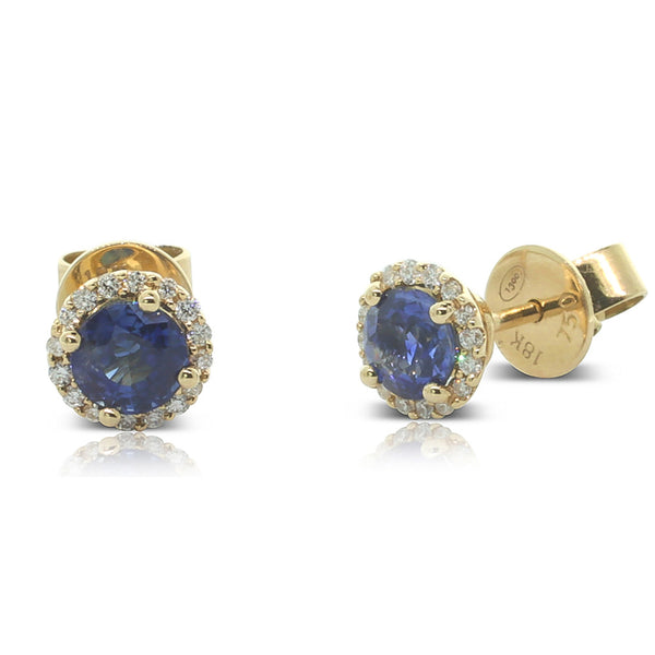 18ct Yellow Gold Sapphire & Diamond Studs - Walker & Hall