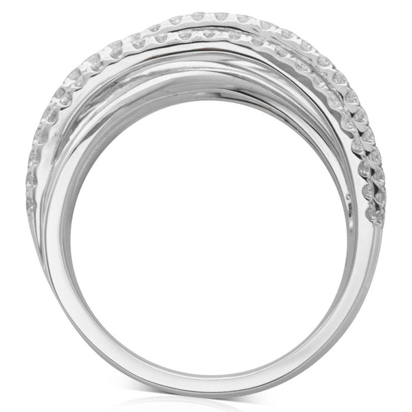 18ct White Gold Diamond Woven Ring - Walker & Hall