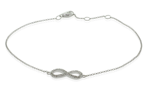 9ct White Gold Diamond Infinity Bracelet - Walker & Hall