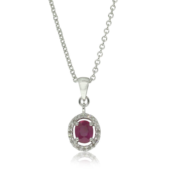 9ct White Gold Ruby & Diamond Pendant - Walker & Hall