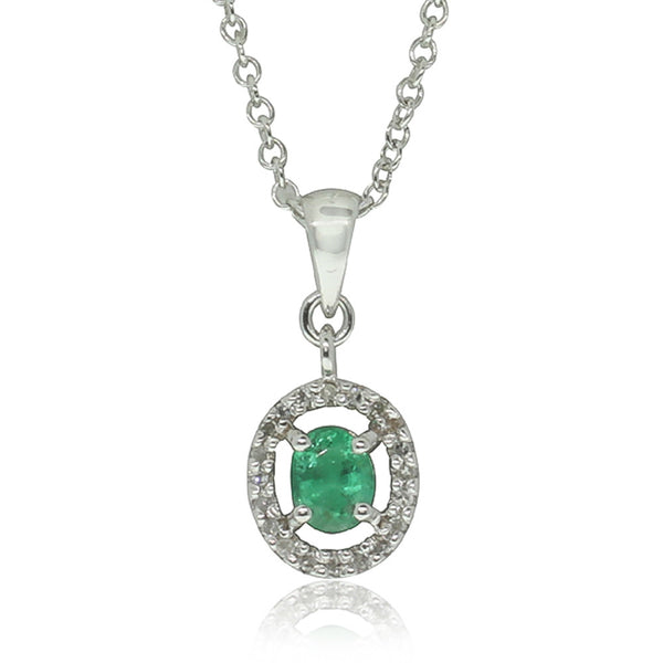 9ct White Gold Emerald & Diamond Pendant - Walker & Hall