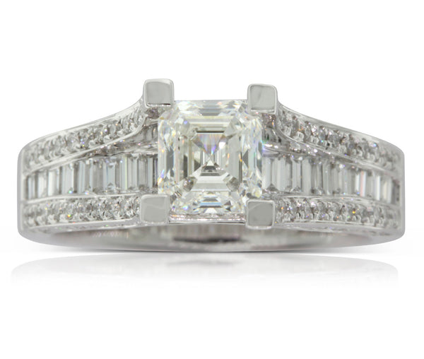 18ct White Gold 1.06ct Emerald Cut Diamond Ring - Walker & Hall