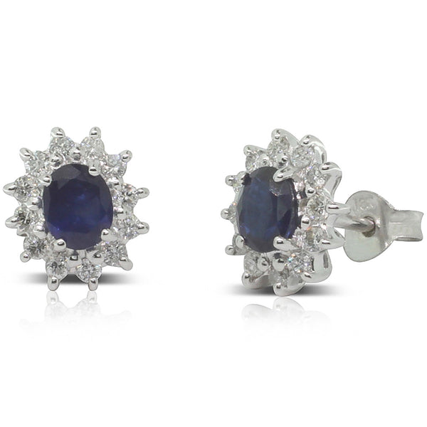 18ct White Gold Sapphire & Diamond Studs - Walker & Hall