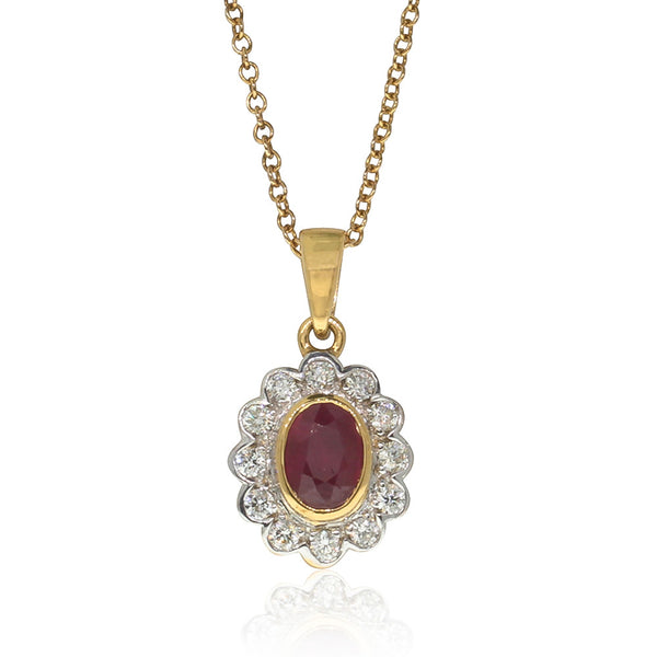 18ct Yellow Gold Ruby & Diamond Pendant - Walker & Hall
