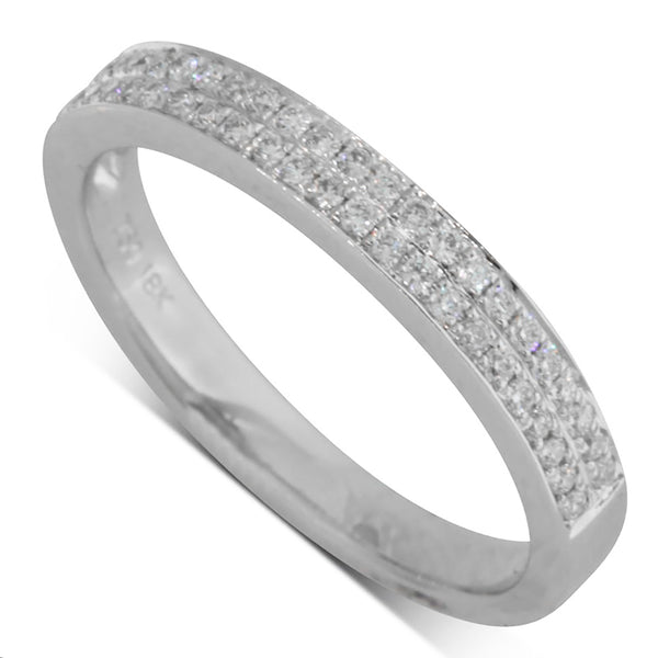 18ct White Gold .25ct Diamond Band - Walker & Hall