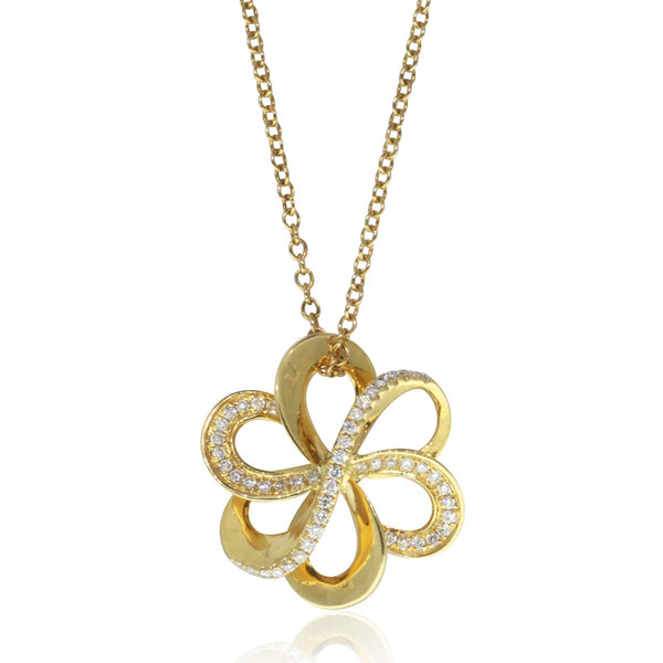 18ct Yellow Gold Diamond Flower Pendant - Walker & Hall