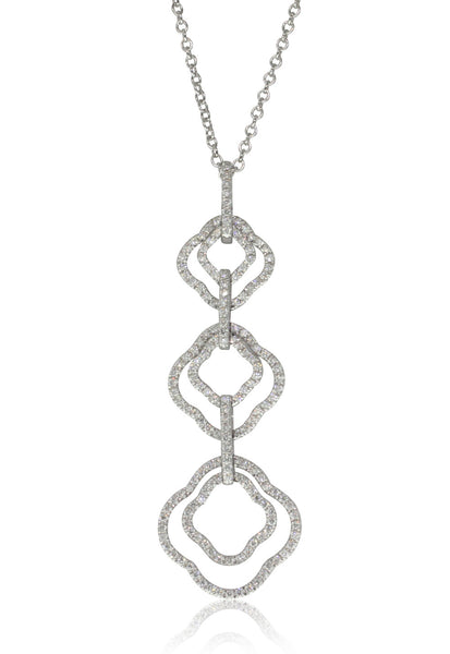 18ct White Gold .46ct Diamond Drop Pendant - Walker & Hall
