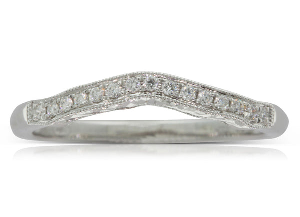 18ct White Gold .10ct Diamond Curved Band - Walker & Hall