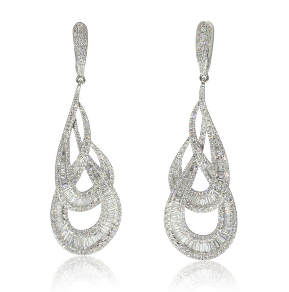 18ct White Gold 3.99ct Diamond Drop Earrings - Walker & Hall