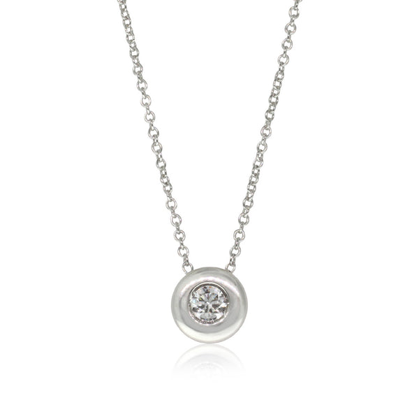 18ct White Gold Diamond Solitaire Pendant - Walker & Hall