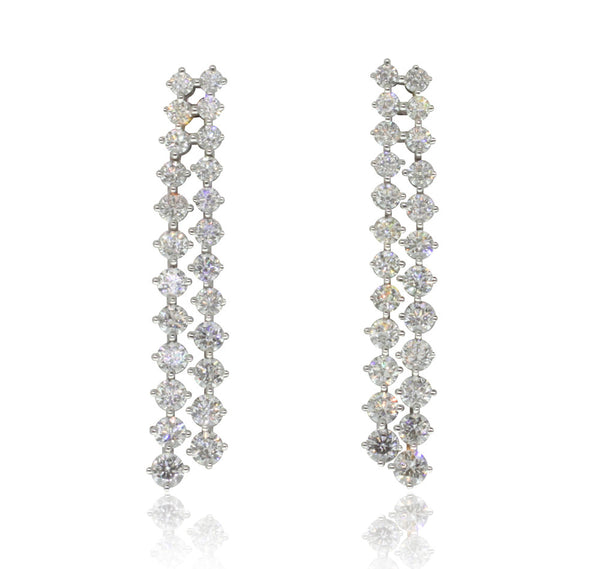 18ct White Gold 2.33ct Diamond Drop Earrings - Walker & Hall