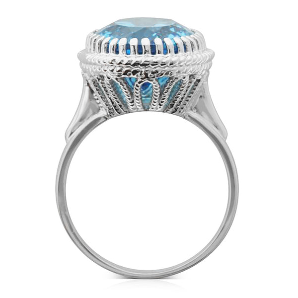 9ct White Gold Blue Topaz Exotic Ring - Walker & Hall