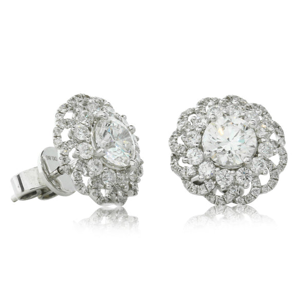 18ct White Gold 2.05ct Diamond Cluster Studs - Walker & Hall
