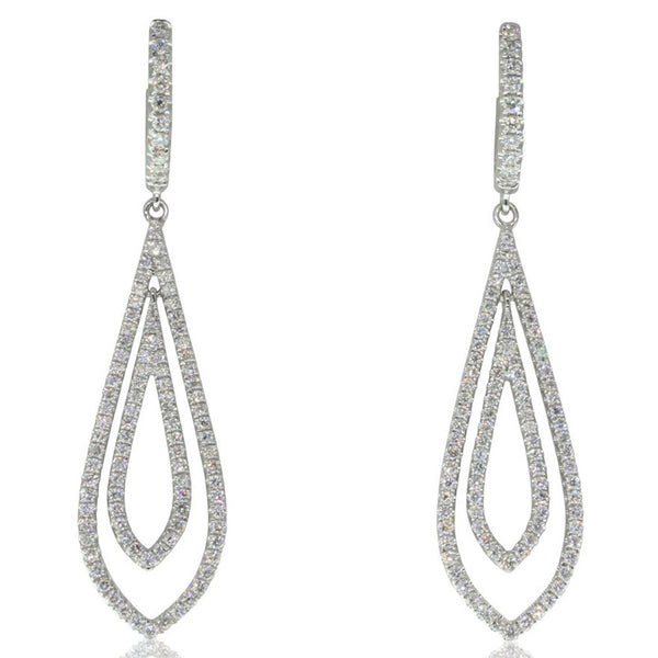 18ct White Gold 1.00ct Diamond Drop Earrings - Walker & Hall