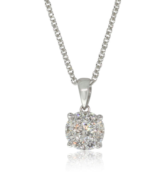 18ct White Gold Diamond Pendant - Walker & Hall