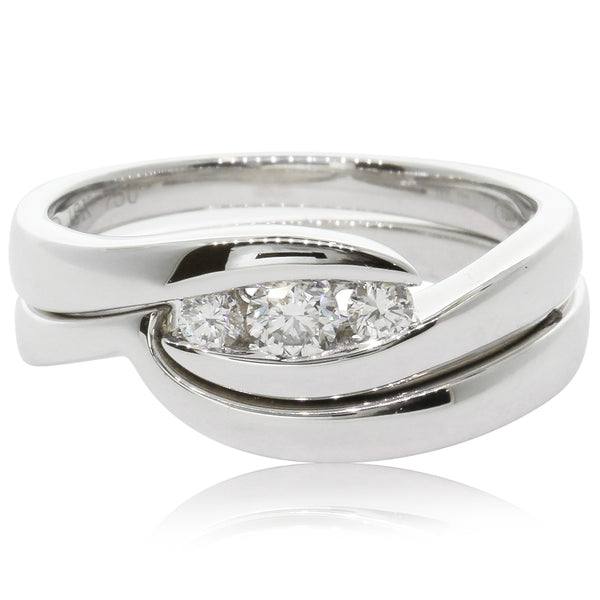 18ct White Gold .22ct Diamond Solstice Ring - Walker & Hall