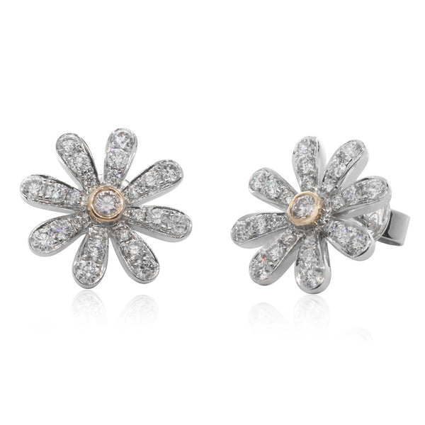 18ct White & Rose Gold Pink Diamond Daisy Studs - Walker & Hall