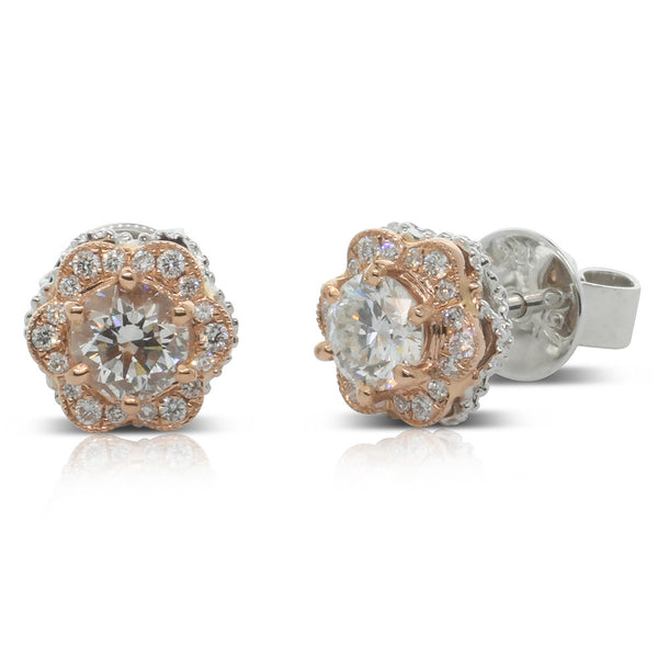 18ct White & Rose Gold Diamond Stud Earrings - Walker & Hall