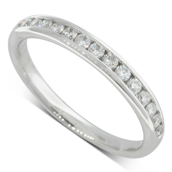 18ct White Gold .30ct Channel Set Diamond Band