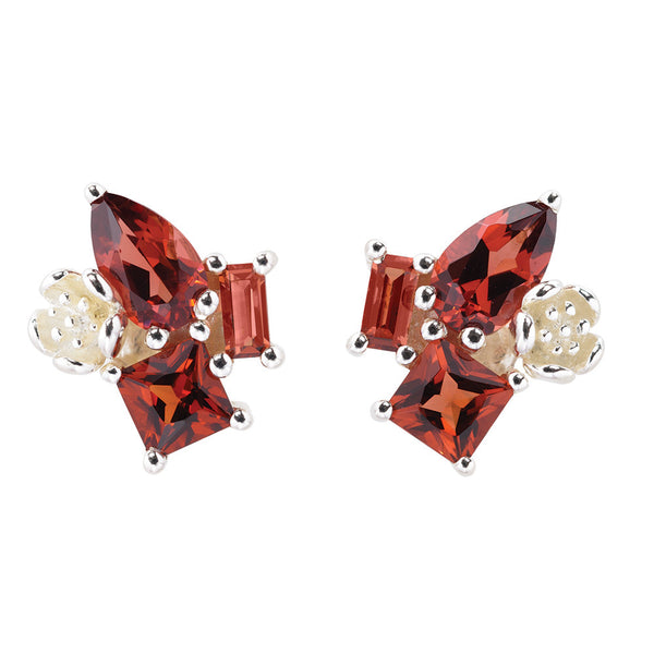 Karen Walker Rock Garden Cluster Studs Garnet - Sterling Silver - Walker & Hall