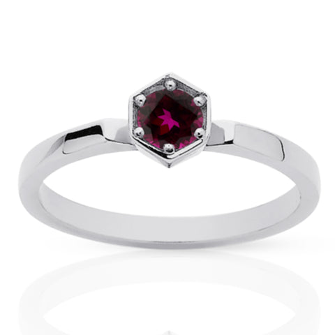 Meadowlark Hexagon Solitaire Ring - Sterling Silver & Rhodolite Garnet - Walker & Hall