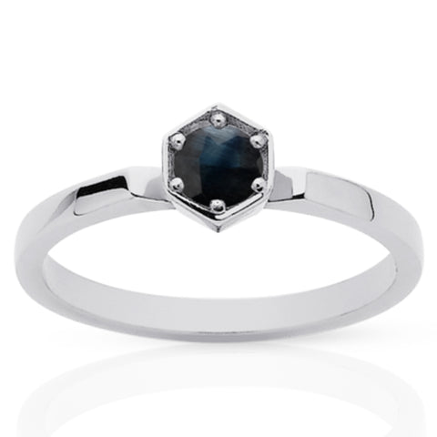 Meadowlark Hexagon Solitaire Ring - Sterling Silver & Midnight Sapphire - Walker & Hall