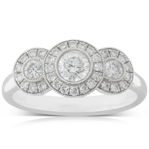 Platinum .78ct Diamond Halo Ring - Walker & Hall