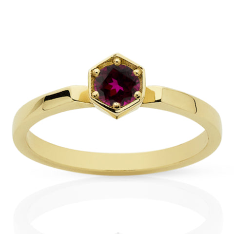Meadowlark Hexagon Solitaire - 9ct Yellow Gold & Rhodolite Garnet - Walker & Hall