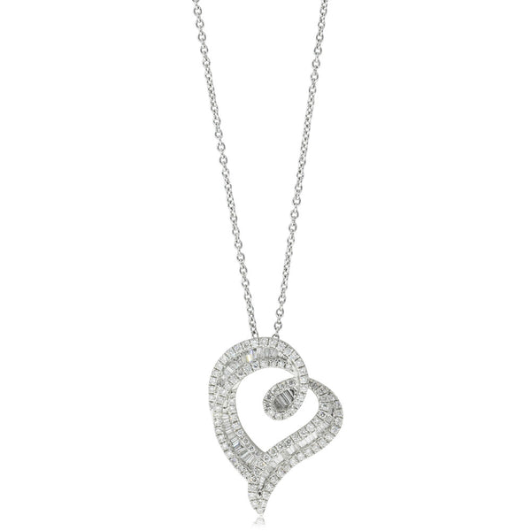18ct White Gold Diamond Heart Pendant - Walker & Hall