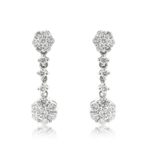 18ct White gold .47ct Diamond Cluster Drop Earrings - Walker & Hall