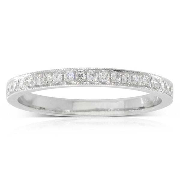 Platinum .16ct Bead Set Diamond Band - Walker & Hall