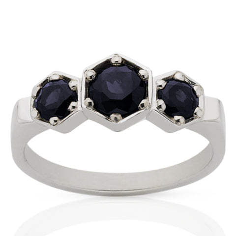 Meadowlark 3 Hexagon Stone Ring - Sterling Silver & Midnight Sapphire - Walker & Hall