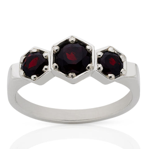 Meadowlark 3 Hexagon Stone Ring - Sterling Silver & Thai Garnet - Walker & Hall