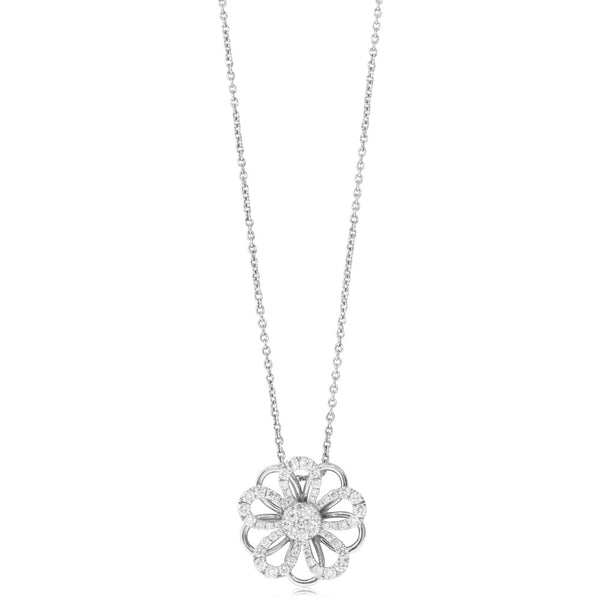 18ct White Gold .67ct Diamond Flower Pendant - Walker & Hall