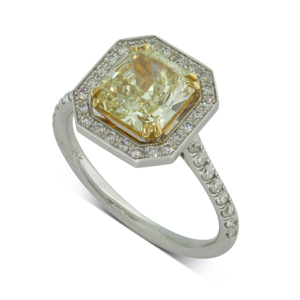 18ct White Gold 1.58ct Yellow Diamond Halo Ring - Walker & Hall