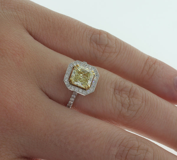 18ct White Gold Yellow Diamond Halo Ring - Walker & Hall