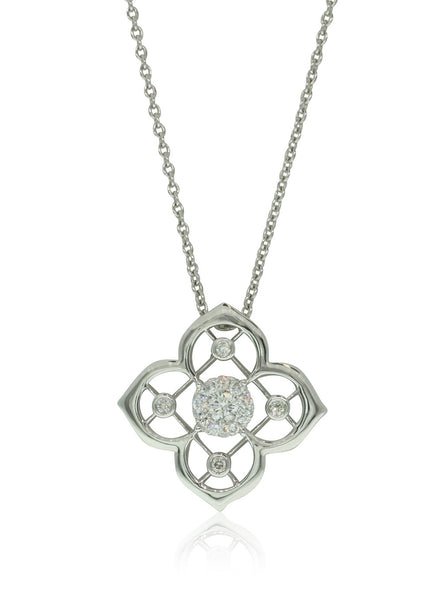 18ct White Gold Diamond Flower Pendant - Walker & Hall
